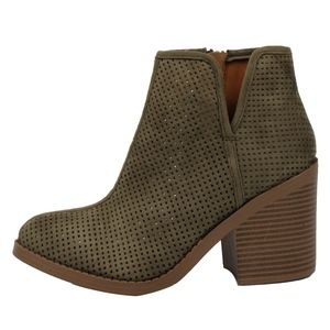 Shoes - Khaki perforated v cut out side Stacked heel boot
